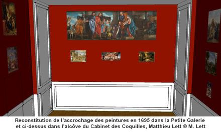 Reconstitution de l'accrochage des peintures en 1695, Matthieu Lett © M. Lett