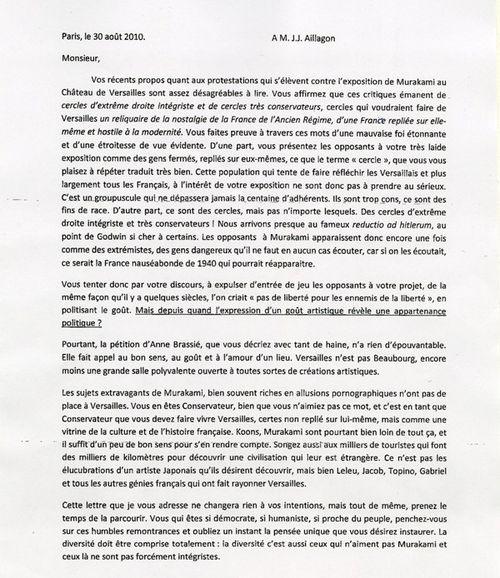 Lettre d'un étudiant en droit envoyé à M. Jean-Jacques Aillagon