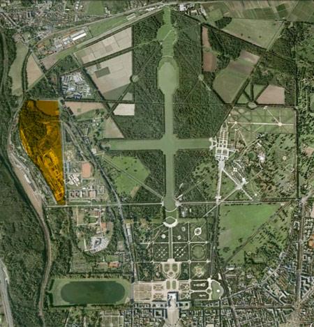Plan de l'implantation du projet Roland Garros sur le domaine du château de Versailles © EPV