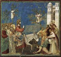 Giotto - Entrée à Jérusalem; 1304-06 fresque; chapelle des Scovegni, Padoue